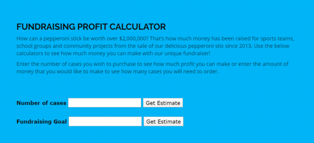 halendas fundraising profit calculator