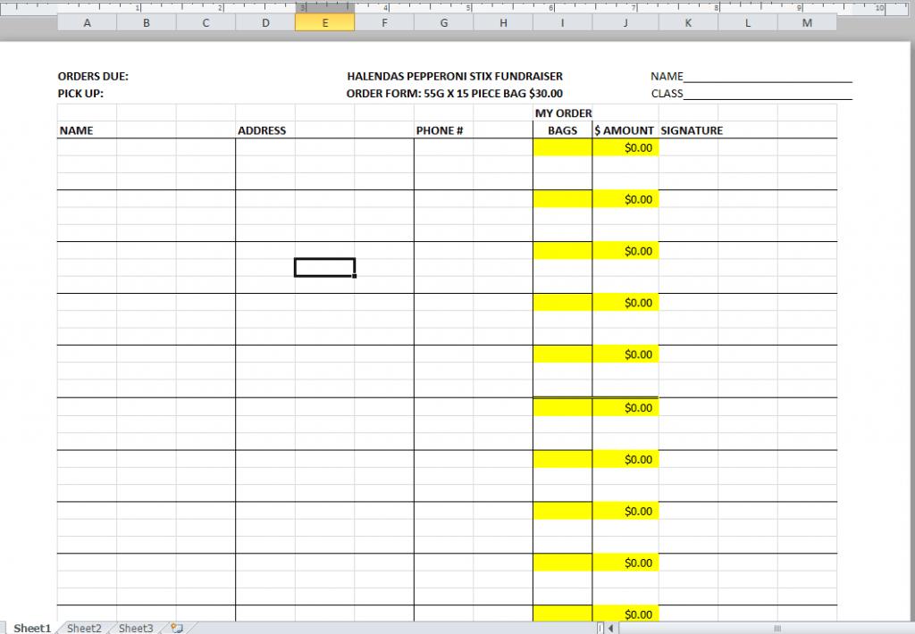 Halenda's Fundraising order tracker